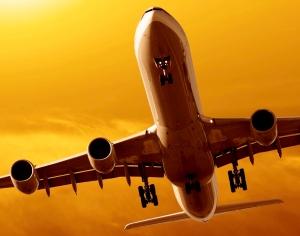 airliner landing at dusk