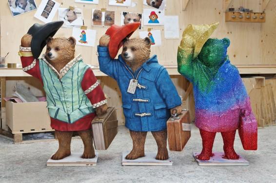 (left to right) Paddington Shakesbear by Michael Sheen, Paddington Bear by Michael Bond and Paddington Sparkles by Frankie BridgeCREDITJoePepler