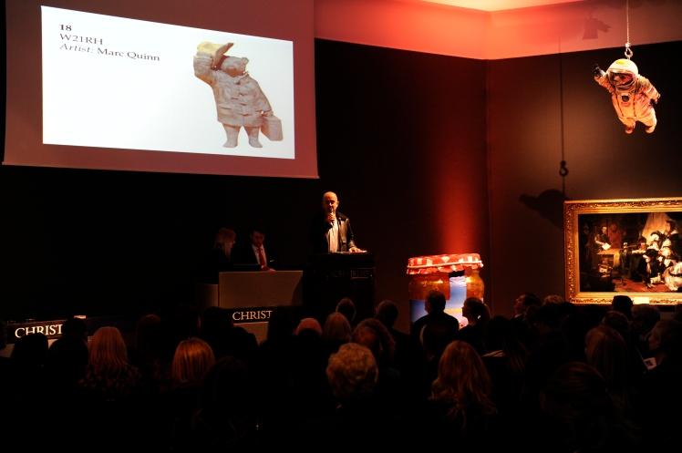 Marc Quinn auctions his design - W2 1RH - at The Paddington Trail gala auction at Christie's, raising -ú62,000 for the NSPCC (c) Christie's Images Ltd 2014