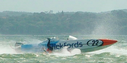 Pickfords' powerboat driver tumbles into the water at Gosport